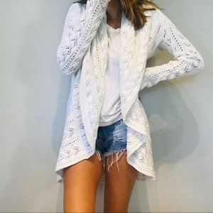 Cabi White open knit flowy cardigan